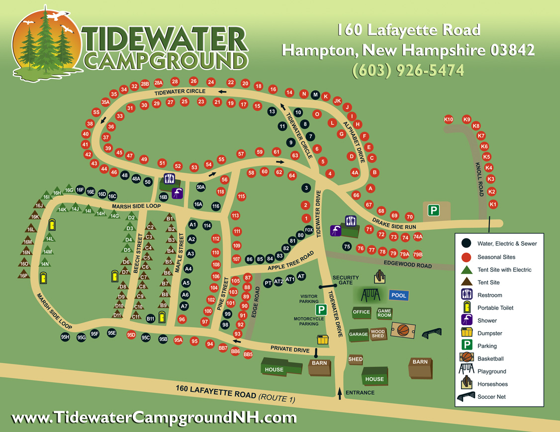 Tidewater Campground Site Map